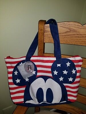 """Disney Store 2018 MICKEY MOUSE AMERICANA TOTE BAG Foldable 18"""" x 12"""""""