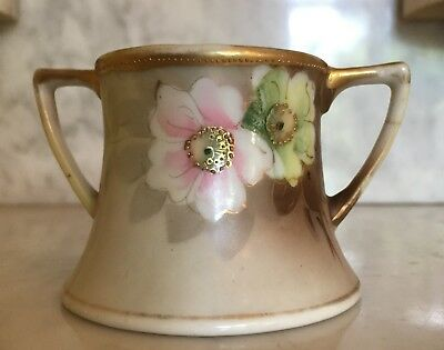 Antique 1915 Hand Painted Nippon Moriage Gold Bead Green Pink Flowers Sugar Bowl