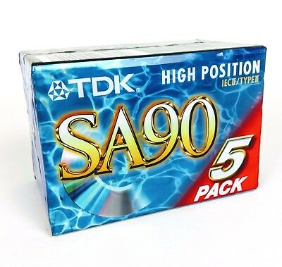 5 Pack TDK SA 90 Tapes / Cassettes / K7 High Position IEC II / Type II - NEW
