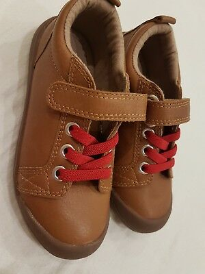 Brand New Marks Spencer Boys Brown Leather Shoes Size 9