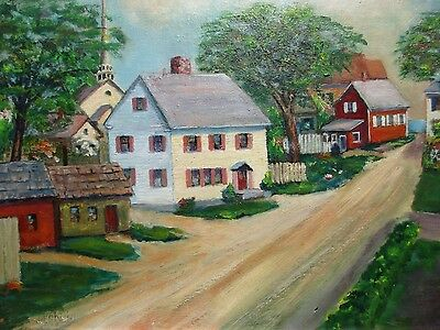 Cleaves Street, Rock Port, Mass. Cape Ann, 1963, Primitive Signed Oil Painting