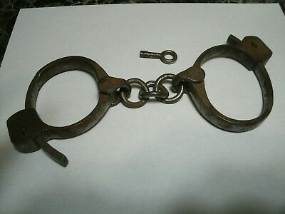 1800's Antique handcuffs with key 100% authentic NO RESERVE!!!!!!!