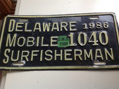 Delaware Mobile Surfisherman Tag #1040 From 1986 Expired