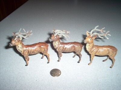 Vintage Christmas Metal Reindeer Figurines Germany ( 3 )