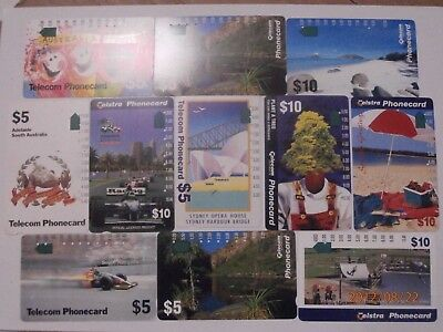 11x TELECOM AUSTRALIA PHONECARDS BULK LOT 1990s SA GRAND PRIX SPORTS  -FREE POST