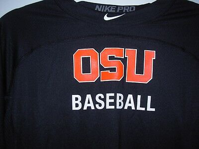 men M/XL nike oregon state beavers baseball pro fitted hypercool 3/4 sleeve top