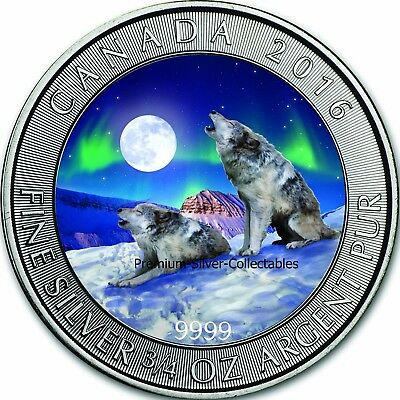 2016 Canada Wolf Series Coin #1 of 4 Winter 3/4 Ounce Pure Silver Colorized
