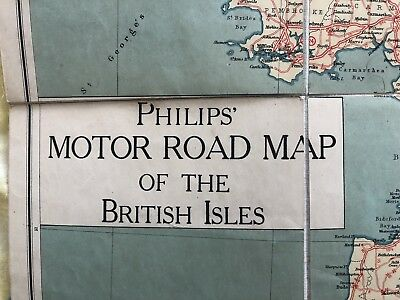 Vintage Philips' Motor Road Map Of The British Isles