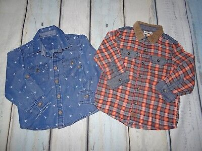 Baby Boy Clothing - 2 long sleeved shirts - Checked/Denim Blue 18-24 months