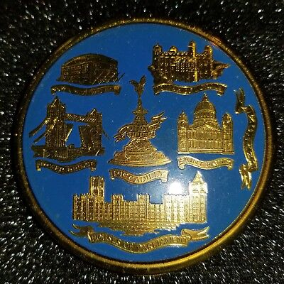Vintage Famous Houses of Parliament London England Metal Compact with Mirror