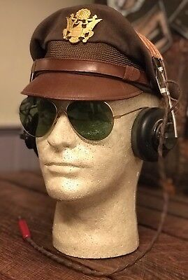 Bancroft Flighter WWii Crusher Cap Display with HS-38/HS-33 Headset And Glasses