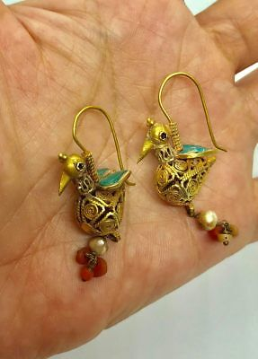 ANCIENT BEAUTIFUL BIRD LOVELY ROMAN 22 KARAT GOLD  EARRINGS (8.45g)