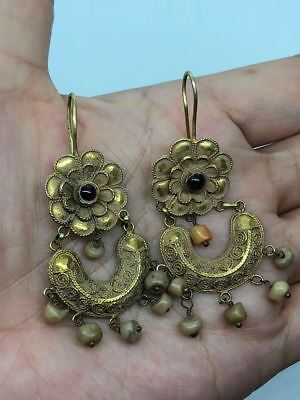 ANCIENT BEAUTIFUL PAIR LOVELY ROMAN 22 KARAT GOLD  EARRINGS (10.22g)