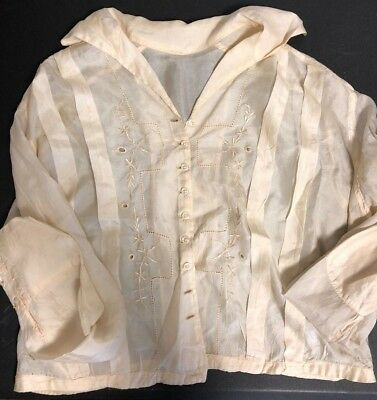 Antique Sheer Silk Romantic EDWARDIAN blouse top w/repairs stains