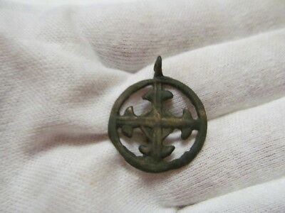 "Ancient bronze pendant ""Cross in circle"" Kievan Rus Vikings 10-13 AD № 457/5."