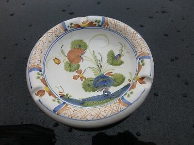 Round Italian hand painted pottery floral ash tray