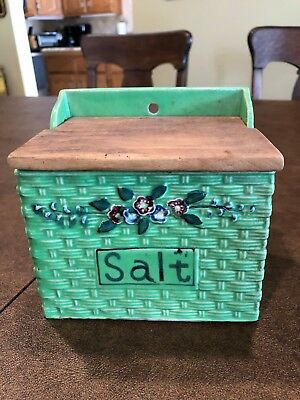 Vintage Made in Japan SALT BOX Green Basketweave Flowers Wall Hanging