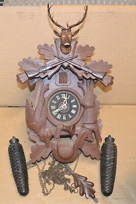 Vintage West German Made 8 Day Hunters Case Cuckoo Clock for Repair or Parts