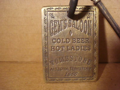 Gem's Saloon SOLID BRASS BROTHEL ROOM KEY WITH TAG Whiskey Girls Western