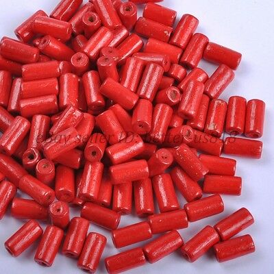 100pcs TUBE SHAPES Red & Charms WOOD Loose BEADS & 12X6MM