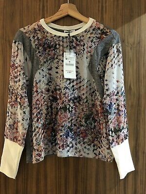 BNWT Zara Size M 10 Floral Graphic Print And Grey Long Sleeve Top