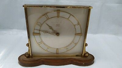 Vintage Art Deco Smiths SECTRIC Electric Mantle Clock Brass Wooden Stand
