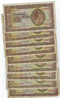 Luxembourg P-42 20 Frang 1943 circulated 9 notes