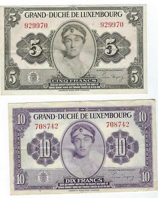Luxembourg P-43,44 5,10 Francs (1944) F-VF 2 notes