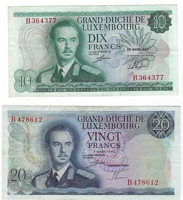 Luxembourg P-53,54 10,20 Francs 1967,66 VF 2 notes