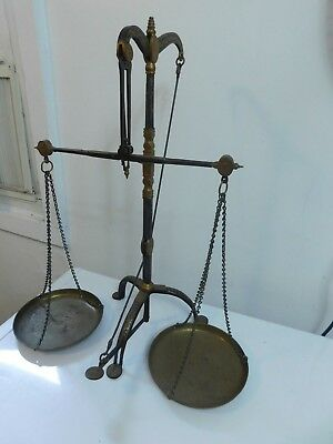 "Antique Rare Apothecary Gold Balance Scale Hand Painted Signed 22 1/2"" Tall"