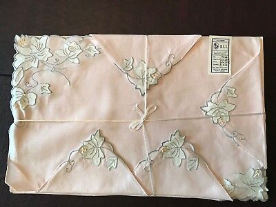 Vintage 100% Portugal LINEN, HAND EMBROIDERED, 2 - 8 piece sets