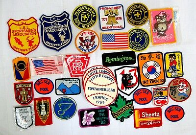 LOT of 30 ASSORTED VINTAGE PATCHES LITTLE LEAGUE TRAVEL HUNTING MILITARY?