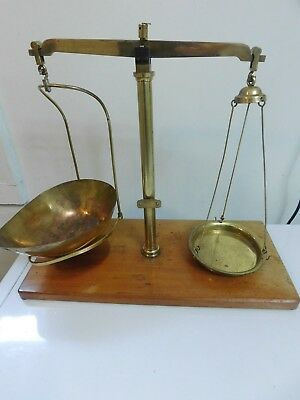 Antique Apothecary Gold Balance Scale W A Webb London Brass Wood Base