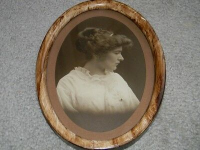 Antique Oval Wood Picture Frame With Antique Picture Flat Glass