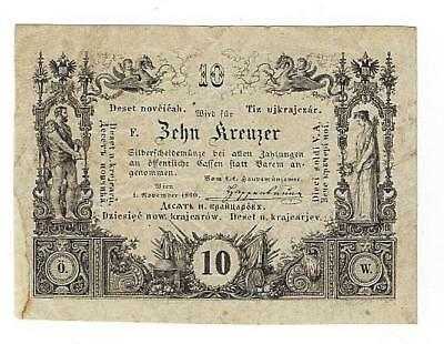 Austria P-A93a 10 Kreuzer 1-11-1860 circulated