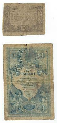 Austria P-A93a,A156 10 Kreuzer,1 Gulden 1860,88 low grade 2 notes