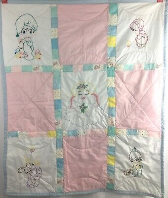 Vintage Hand Embroidered Precious Moments Baby Quilt Blanket Patchwork Pastel
