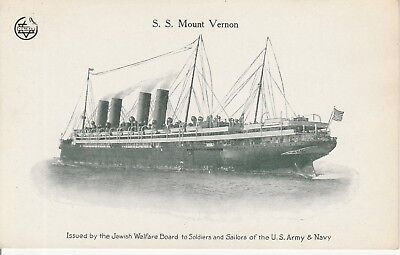 S.S. Mount Vernon  'Issued by the Jewish Welfare Board'