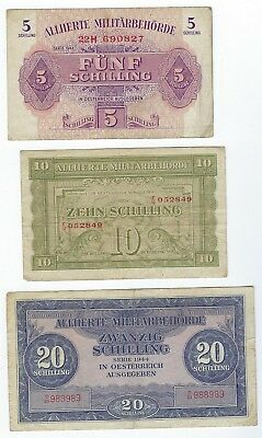 Austria P-105,106,107 5,10,20 Schilling 1944 circulated 3 notes