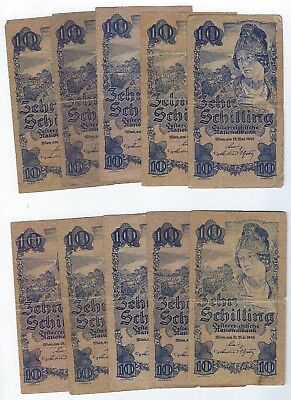 Austria P-114 10 Schilling 1945 circulated 10 notes