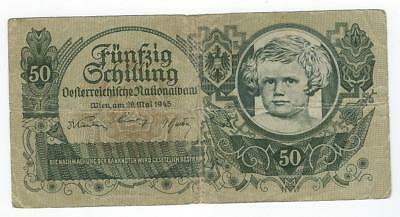 Austria P-117 50 Schilling 1945 circulated hole
