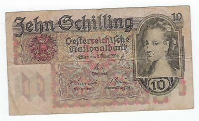 Austria P-122 10 Schilling 1946 circulated