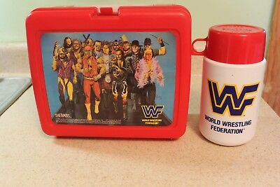 Vintage Lunch Box WWF Wrestling with Thermos 1991 Plastic Red WWE