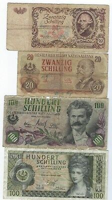 Austria P-129,136,138,145 low grade 4 notes