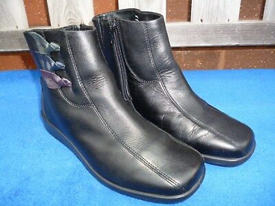 Hotter Ladies Black Leather Ankle Boots Crystal Size 5.5 UK EXF Excellent.
