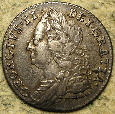Great Britain: 1758 King George II Silver Sixpence