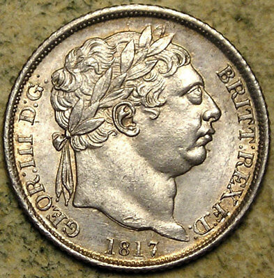 Great Britain: 1817 King George III Silver Sixpence
