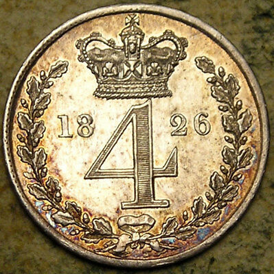 Great Britain: 1826 King George IV Silver Maundy Four Pence