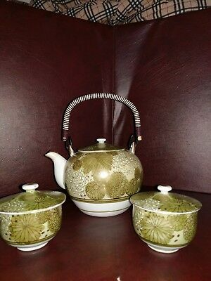 VINTAGE KUTANI Tea Pot & 2 Cups with Lids. Green Floral Porcelain, Japanese