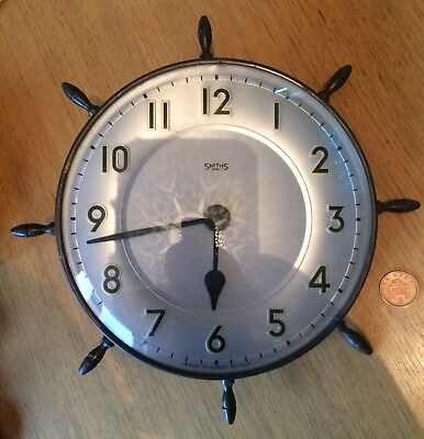 Vintage Smiths 8 Day Made In Great Britain Ships Wheel Clock Spare Repair
